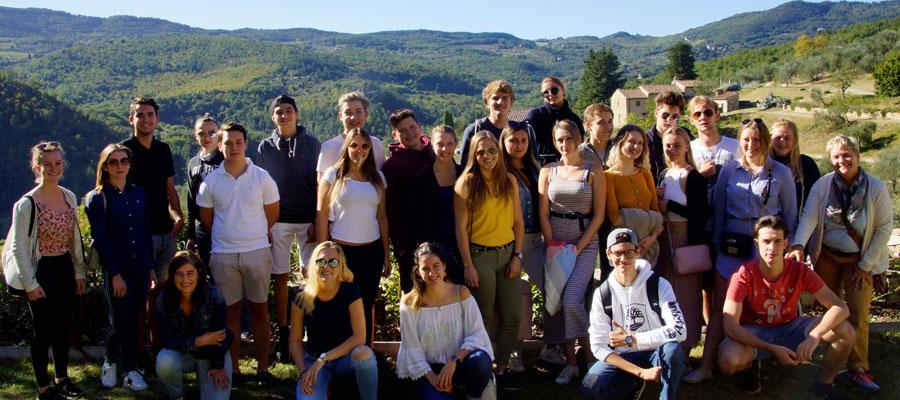Gruppenfoto beim Castello del Trebbio